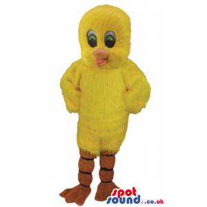 Tweety mascot with yellow, fluffy body and lovely eyes - Custom