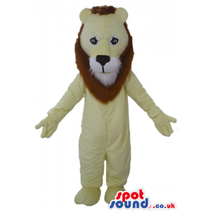 Beige lion with long brown hair - Custom Mascots