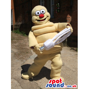 Bright shining Light mascot with white light bulb in hands -