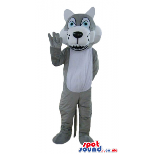 Grey and white wolf with big blue eyes and sharp teeth - Custom