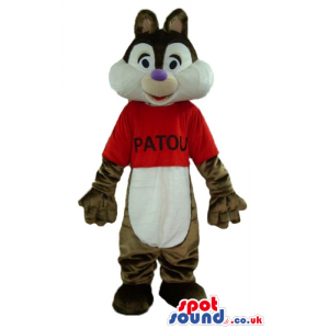 Brown and white squirrel wearing a red t-shirt - Custom Mascots