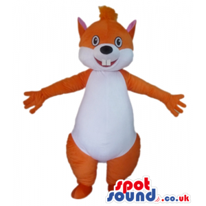 Brown and white squirrel with long front teeth - Custom Mascots