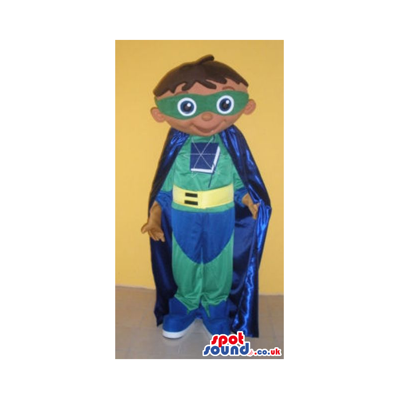 Superhero mascot wearing blue and green outfit and blue cape -