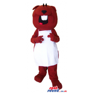 Brown happy beaver mascot with white teeth and with white apron