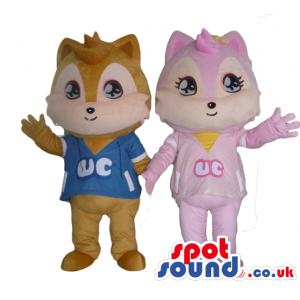 Brown squirrel wearing a blue t-shirt and pink squirrel in a