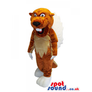 Brown beaver mascot with white teeth and beige underbelly -