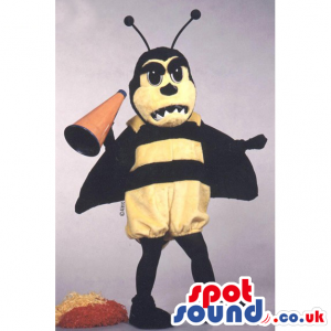 Black and yellow bee mascot with black antenna and megaphone -