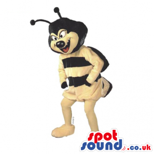 Black and yellow bee mascot with black antennaes and yellow