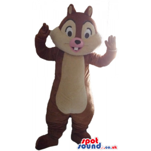 Brown and beige squirrel with a pink mouth - Custom Mascots