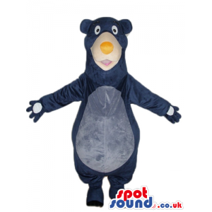 Blue and grey bear with a yellow nose - Custom Mascots