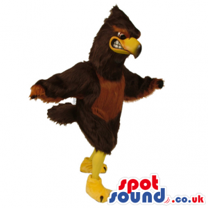 Brown and big eagle mascot with spectacular appearance and face