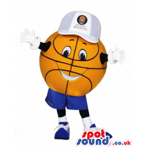 Basketball ball mascot with blue outfit and awesome smile -