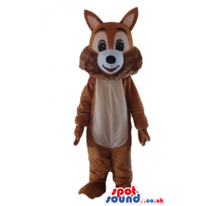 Smiling brown squirrel with big black eyes - Custom Mascots