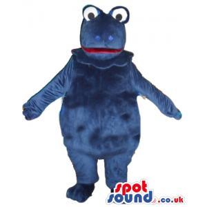 Fat blue frog with big eyes - Custom Mascots