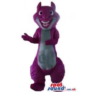 Smiling violet and white squirrel - Custom Mascots