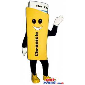 The yellow big standing newspaper mascot with friendly smile. -