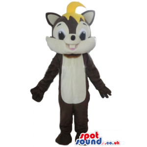 Brown and beige squirrel with yellow hair - Custom Mascots