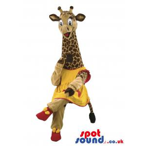 Giraffe mascot with beautiful yellow-pink frock with pink shoes