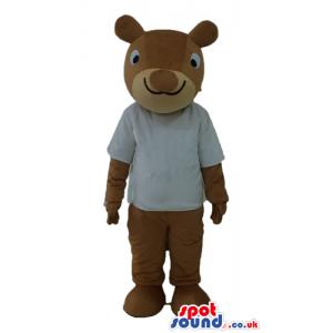 Brown squirrel wearing an off-white t-shirt - Custom Mascots