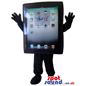 Black tablet mascot with icons on the screen, hands and feet -