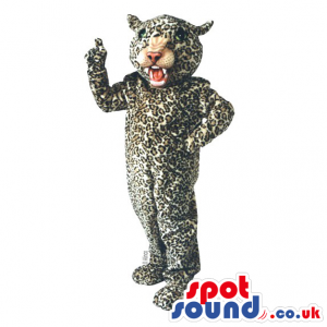 Lovely leopard Mascot with spotted, soft cuddly material -