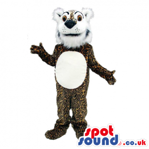 Leopard mascot with fluffy white beard, underbelly and black