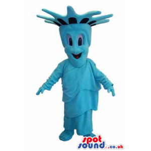 A blue smiling mascot representing the Statue of Liberty -