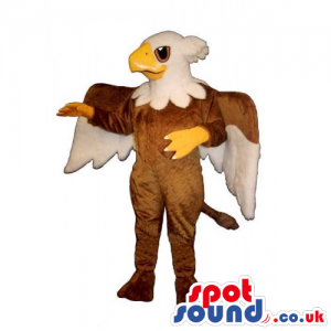 An eagle-headed brown mascot with huge wings and a fancy tail -