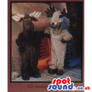 Brown moose mascot and his twin mascot, beige stag mascot -