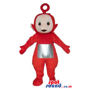 Red teletubby with a silver square on the belly - Custom Mascots