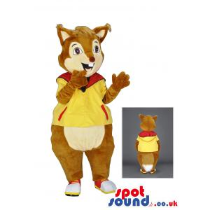 Bunny mascot in a yellow hoody with white and red shoes -