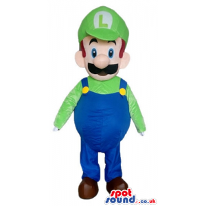 Mascot costume of super mario bros wearing a green shirt -