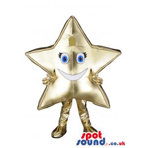 Golden Mascot With Blue Eyes And Black Eyelashes - Custom