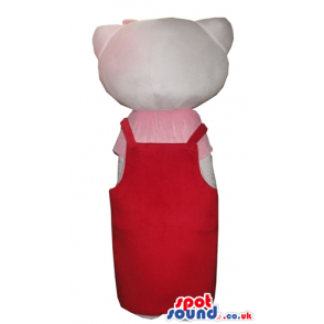 Hello kitty with a red bow on the head wearing a pink and red