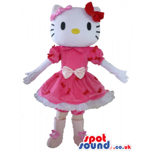 Hello kitty with 2 bows on the head and a pink and red mini