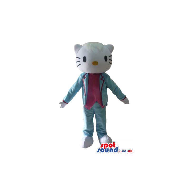 Hello kitty wearing a silky light-blue suit and a pink blouse -