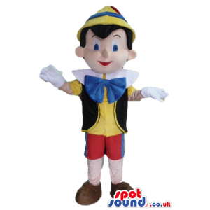 Pinocchio wearing a yellow shirt, a black vest, red trousers, a