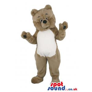 Brown-white teddy mascot with tilted head and waving his hand -