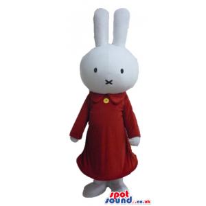 White rabbit wearing a long red dress - Custom Mascots