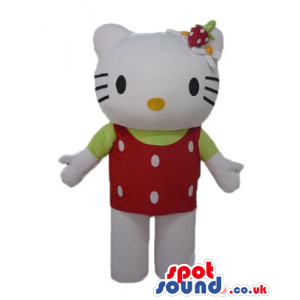 Hello kitty wearing a red t-shirt and a red swimming suite -