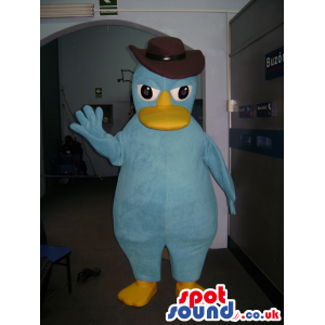 Blue Duck With Brown Hat, Big Eyes And Yellow Beak - Custom