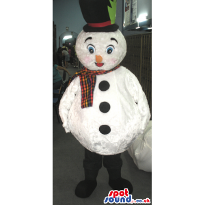 White Snowman Mascot With Black Top Hat And Colorful Scarf -
