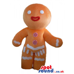 Gingerbread female cookie with red lips decorated in red and