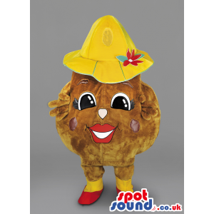 Potato Vegetable Mascot With Yellow Hat And Red Shoes - Custom
