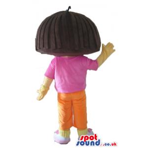 Dora the explorer wearing a pink t-shirt, orange shorts and