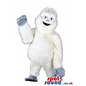 Boogy white mascot with smiling face and waving hands - Custom