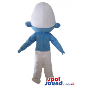 Smiling smurf wearing white trousers and a white hat seen from