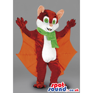Brown Bat Mascot With Green Scarf And Orange Wings - Custom