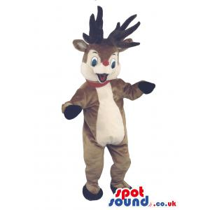 Animated Reindeer mascot in brown and with gloves and socks -