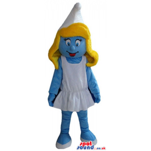 Blonde smurfette wearing a white dress and shoes - Custom